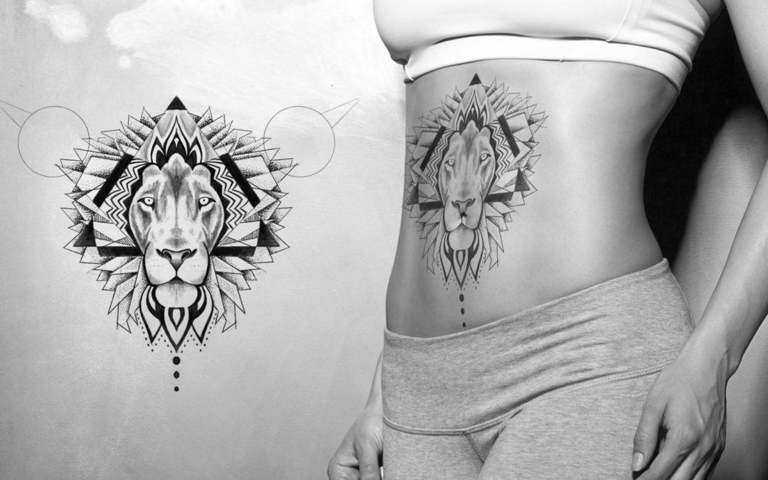 Oroszlán dotwork tetoválás vázlat